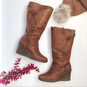 UGG Corinth brown leather knee high wedge boots